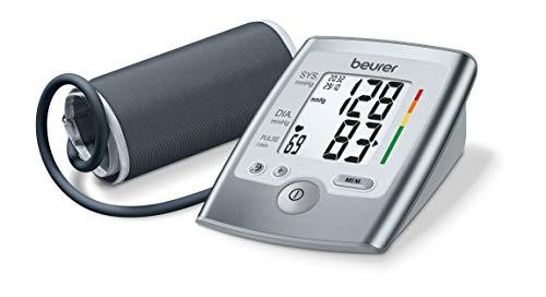 Beurer BM 35 Tensiómetro de brazo, indicador OMS, detección arritmia, gran pantalla LCD, memoria 2 x 60 mediciones, Fecha y hora, color gris, manguito 23 - 33 cm