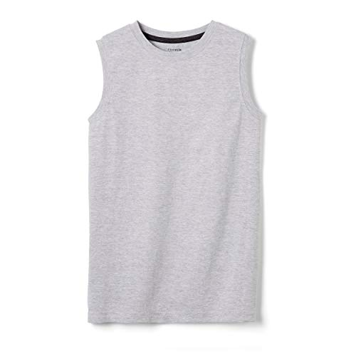 French Toast Boys' Sleeveless Solid Muscle Tee, Heather Gray 4T,Toddler Boys