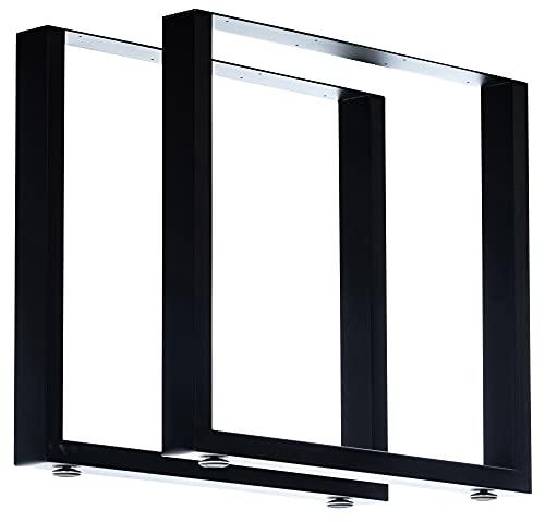 CLP Juego de 2 patas de mesa Velden de perfiles cuadrados, altura de 72 cm, estructura con recubrimiento de polvo, color: negro, tamaño: 80 cm
