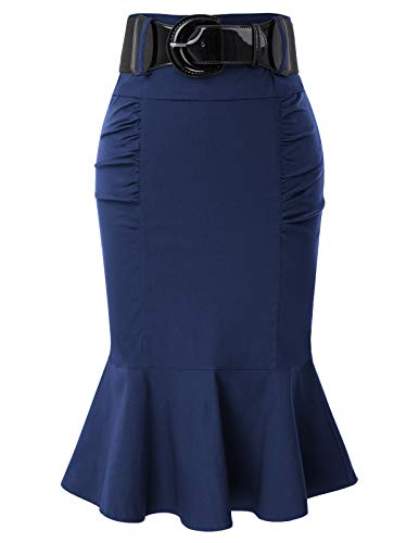 Belle Poque Plus Size Wear to Work Stretchy Office Pencil Midi Skirt Navy Blue XXL BP627-4