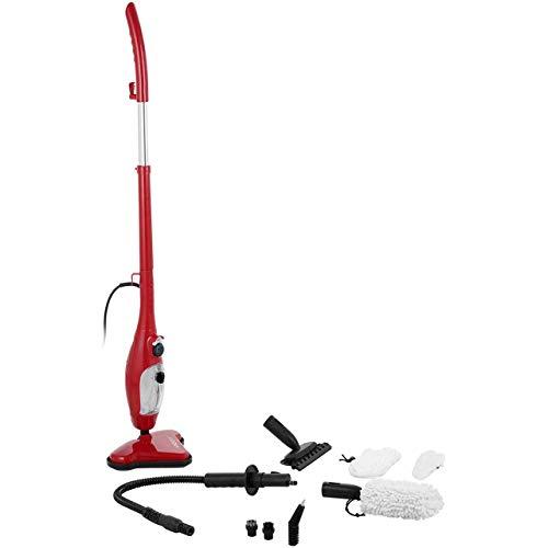 Thane H2O H20 X5 Steam Mop 5 en 1 Limpiadora a Vapor Fregona Mopa Portátil Multiuso Vaporeta Escoba Vertical y Mano para Limpiar Suelos Ventanas Alfombras Hornos Tapicería Ropa (Rojo)
