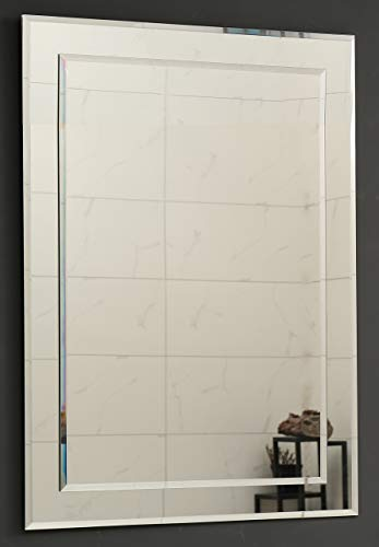 Large Double Rectangular Beveled Wall Mirror | Silver Backed Rectangle Mirrored Glass| -