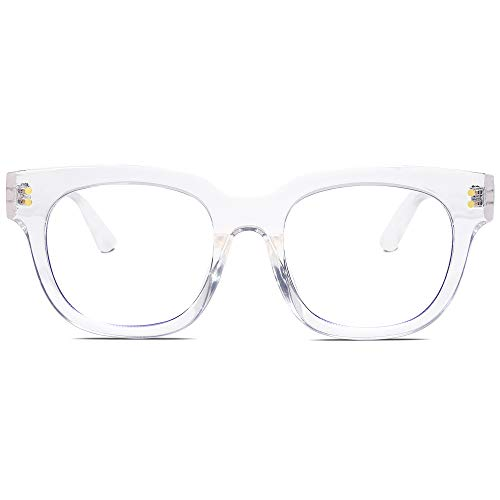 SOJOS Oversized Square Anti Blue Light Blocking Glasses for Women Thick Computer Eyeglasses Double Metal Studs SJ5053 with Crystal Frame/Anti-Blue Light Lens