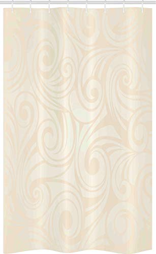ABAKUHAUS Elfenbein Schmaler Duschvorhang, Victorian Gebogene Blätter, Badezimmer Deko Set aus Stoff mit Haken, 120 x 180 cm, Creme