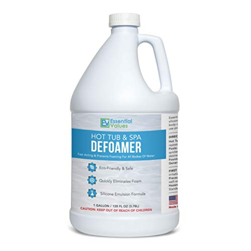 Essential Values Gallon Hot Tub, Pool & Spa Defoamer (Gallon / 128 Fl OZ) – Quickly Removes Foam Without The Use of Harsh Chemicals, Eco-Friendly & Safe with Silicone Emulsion Formula