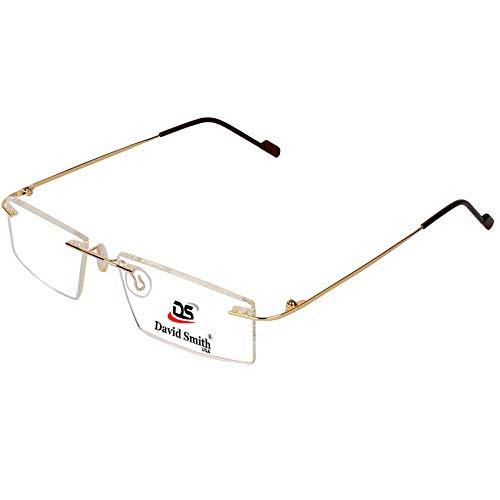 David Smith® Gold Color Eye Wear Rimless Frame For Men Women, Optical Eyeglass Rimless Spectacle Frame for eyeglasses