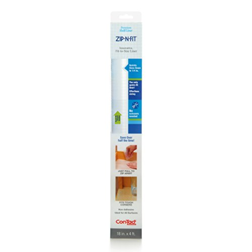 Con-Tact Brand Zip-N-Fit Premium Non-Adhesive Perforated Shelf and Drawer Liner, No Scissors Needed, 18-Inches by 4-Feet, Ribbed Clear, 6 Rolls