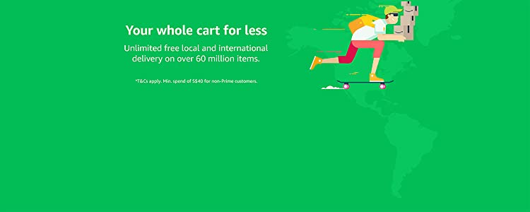 Unlimited free local and international delivery on over 60 million items.