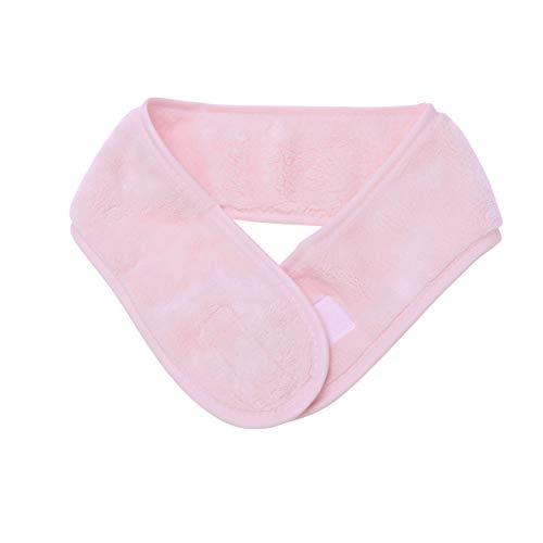 Diadema de spa facial Diadema de microfibra ajustable Toalla elástica Banda para envolver el cabello para ducha de maquillaje, 1 pieza (rosa)