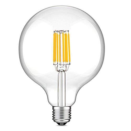 10W G125 E27 Edison LED Filamento Vetro Globo Lampadina, LuxVista Lampada Decorativa Classico Sfarfallio Non Dimmerabile Luce Calda 2700K Equivalente a 70W Incandescenza