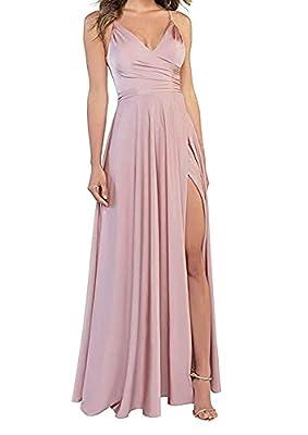 LINDO NOIVA Bridesmaid Dresses Long V Neck Dusty Rose Prom Dress A Line Spaghetti Strap Eveing Dress 10 LNL054