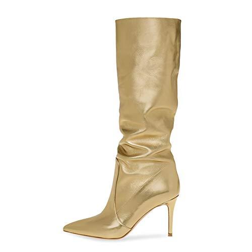 Damen Overknees Stiefel Oberschenkel Hoch Stiefel Stöckelabsatz Kniestiefel Kniehohe Stiefel Langschafts Stiefel Leder Kleid Stiefel Gold Größe EU 35-46,Gold,EU45/UK11