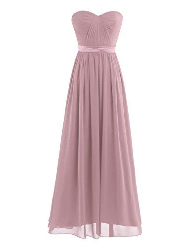 TiaoBug Damen Kleid Elegant Abendkleider Lang Chiffon Brautjungfernkleid festlich Hochzeits Kleider Cocktailkleid Altrosa 36-38