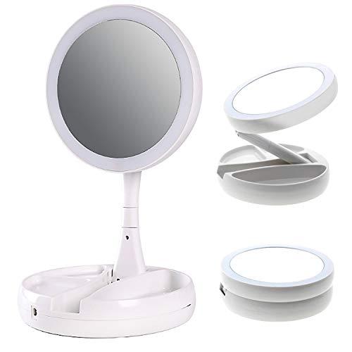 zanasta Kosmetikspiegel mit LED Licht, Schminkspiegel beleuchtet faltbar für Schminken Rasieren, Makeup