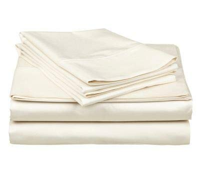 Best Bargain Quality Brand Company QBC Gotcha Covered Luxe Collection 100 prct Cotton Sateen 618 Thread Ct. Sheet Set w/Smarty Bandzz King Size Up to 11 in. Low Profile Ivory Color