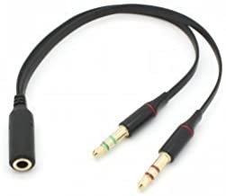 ChenYang Black Dual 3.5mm Male to Single Female Headphone Microphone Audio Splitter Cable for Cell Phone & Tablet & Laptop