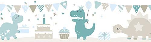 lovely label Bordüre selbstklebend DINOPARTY Petrol/Taupe/HELLBLAU - Wandbordüre Kinderzimmer/Babyzimmer mit Dinosauriern - Wandtattoo Schlafzimmer Mädchen & Junge – Wanddeko Baby/Kinder