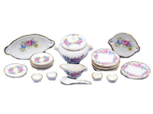 Melody Jane Salle à Manger Maison de Poupées Miniature Accessoire 1:12 Échelle Porcelaine Dîner Set