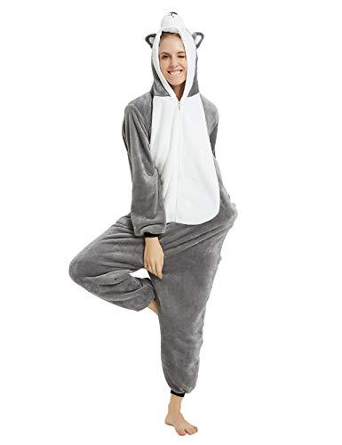 Pigiama Animali Cosplay Party Costume di Carnevale Halloween Tuta Unisex Pigiama Intero OnePiece Regalo di Compleanno Taglia S,M,L,XL (XL(178-188cm), Cane-Grigio)