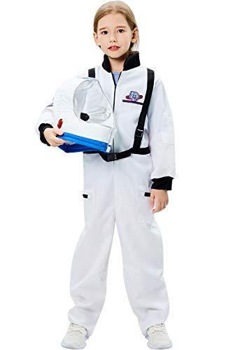 Tacobear Disfraz Astronauta Niño con Casco Astronauta Juego de Roles para Halloween Astronauta Cumpleaños Cosplay Disfraces para Niños Niñas, Blanco (M, 8-10 Años)