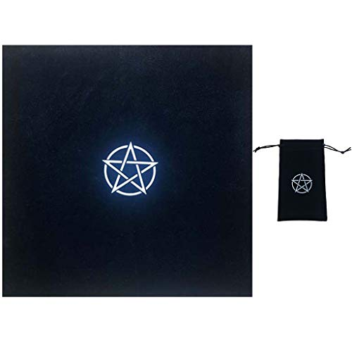 geneic Pentagramm Tarot-Tischdecke mit Tasche Samt Altar Tarottuch Wahrsagung Astrologie Brettspiel Pentakel Vintage Kartenblock