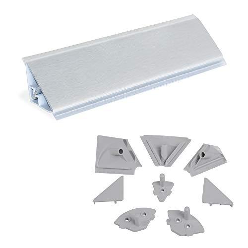 Emuca - Copete triangular para cocina con accesorios para instalación, 4,7 m, plástico, anodizado satinado.