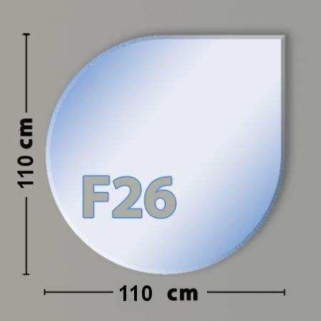 Tropfenform F26 Funkenschutzplatte - Glasplatte aus Sicherheitsglas