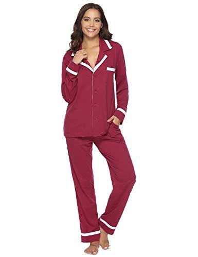 Aibrou Damen Schlafanzug Pyjama Lang Baumwolle Winter Warm Nachtwäsche Sleepwear mit...
