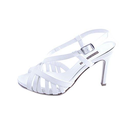 albano scarpe sposa ALBANO Sandali Donna Sposa Raso Bianco con Fasce Intrecciate e Chiusura con Cinturino al Tallone. Tacco Comodo Slim da 10cm e Plateau da 2 cm. Taglia 38