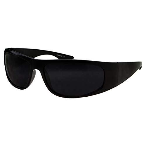 Super Dark Lens Black Sunglasses | Biker Style Rider | Wrap Around Frame (Matte Black)