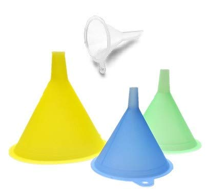 Funnels variety set of 4 from mini, small to Larg Plastic funnel for Kitchen Liquid Spices Powder Cosmetic Lotion Essential Oils