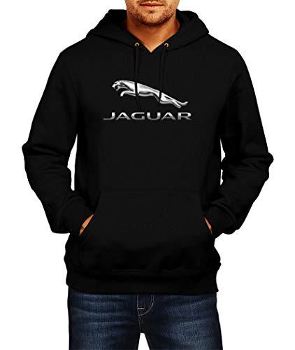 Sweats à Capuche Jaguar Logo Hoodie Homme Men Car Auto Tee Black Grey Noir Gris Long Sleeves Manches Longues Present Christmas (XL, Black)