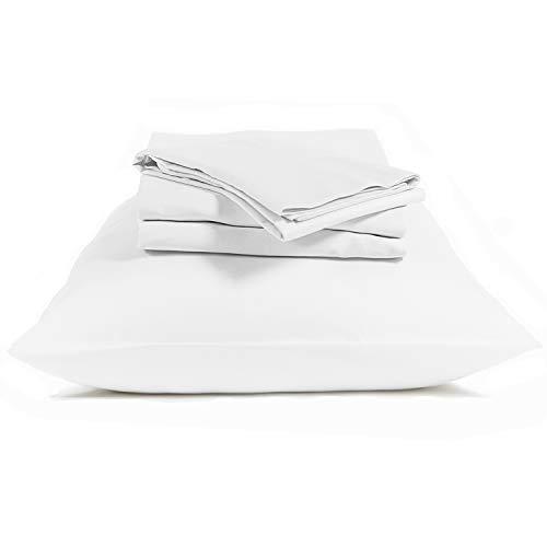 "BIOWEAVES 100% Organic Cotton Sheets 300 Thread Count 4-Piece GOTS Certified Bed Sheet Set That Fits Mattress Upto 17"" Deep Pocket, Soft & Silky Sateen Weave (Queen, White)"