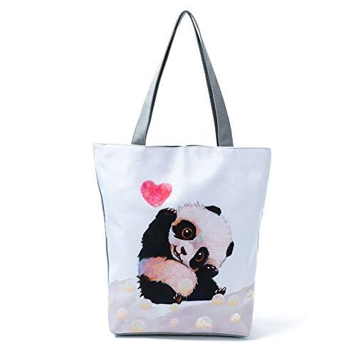 Doitsa Bolsas Fourre-Tout Mode Cartoon impresión Gran Capacidad computadora portátil Bolso Mujer Bandolera De Lienzo Animal Panda Gatito Cactus, Lona, Style-2, 27 * 11 * 38cm
