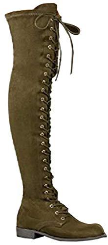 mama stadt Stiefel Lang Damen Schnürung Flach Absatz und Schnürung Gefüttert Langschaftstiefel Moderne Schuhe Armeegrün/43