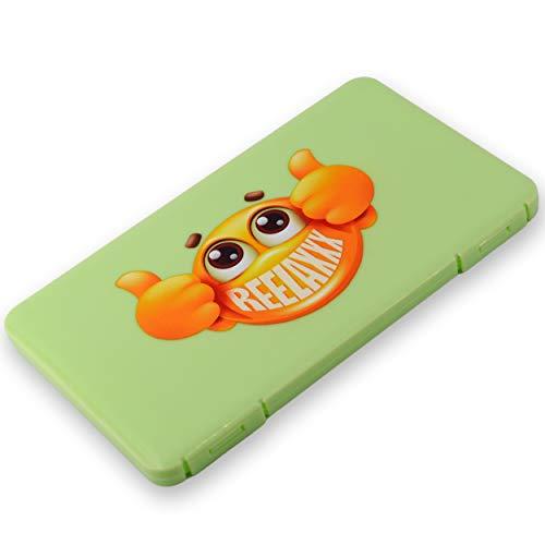 REELAXXX - Maskenbox Kinder - Schmuck Perlen - Aufbewahrungsbox Masken - Karten und Zubehör - Box für Maske - Aufbewahrung - Maskentaschen - Etui Mask Case - Tasche (Grün)