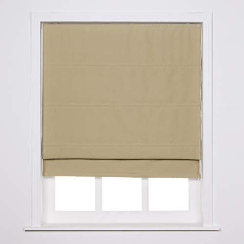 ChadMade Loop Cord Control Roman Blind, Unlined Room Darkening Blackout Roman Shade for Bedroom, Living Room Kitchen Window, Beige Color, Installation Included, Customize, Edith Collection