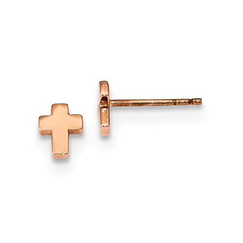 14k Rose Gold Small Cross Religious Post Stud Earrings Ball Button Fine Jewelry For Women Gifts For Her