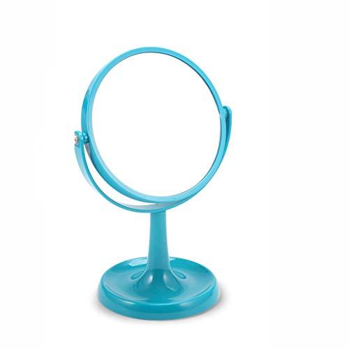 Miroir de Maquillage de Haute qualité Miroir Maquillage Miroir De Bureau Loupe Miroir Portable Grand Miroir Double Face Bleu Blanc Noir Portable (Color : Blue, Taille : 27.5 * 18.5 * 13.8cm)