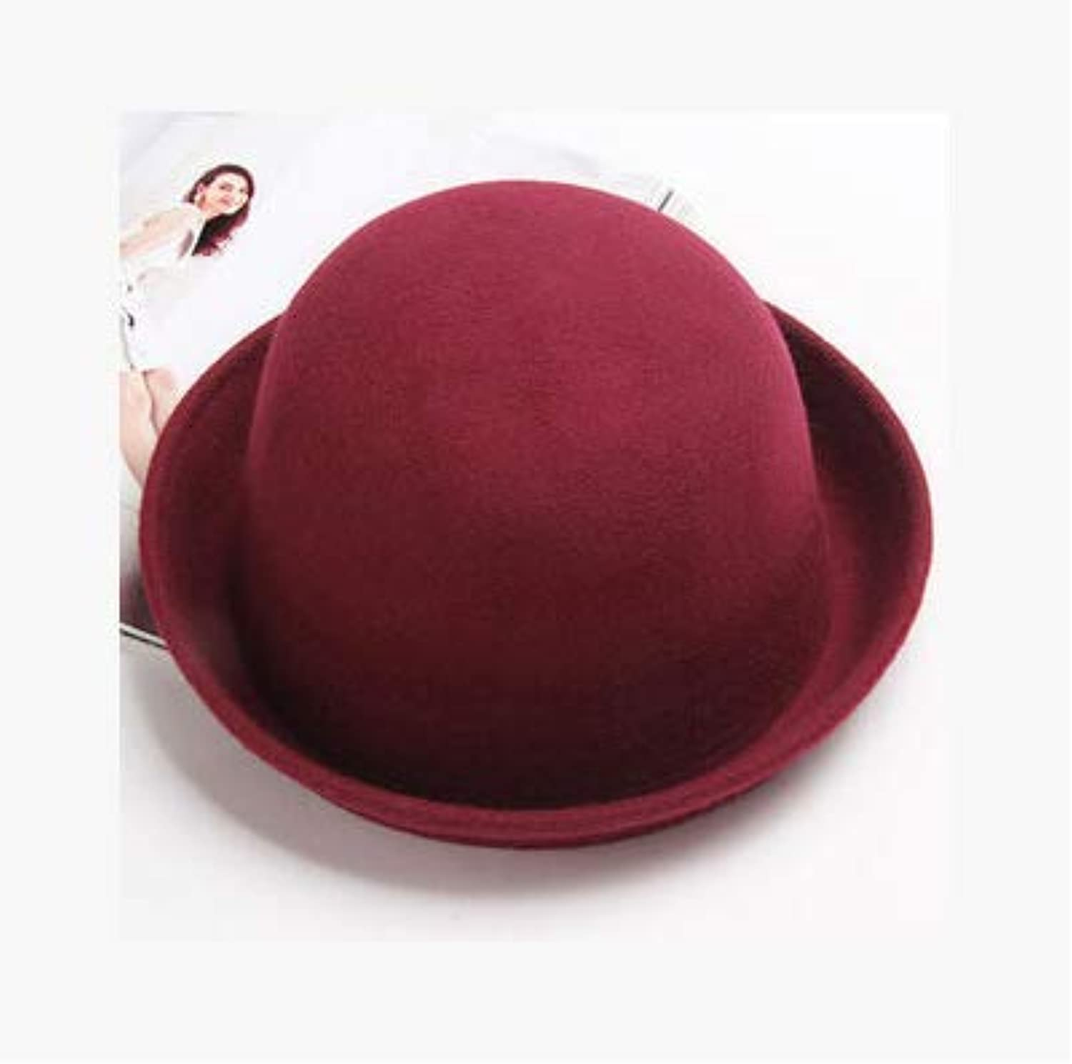 Home British Spring hat Ladies Outdoor Winter Woolen hat Fashion Curling Small hat Export (color   Wine red) Warm Soft and Comfortable Hats