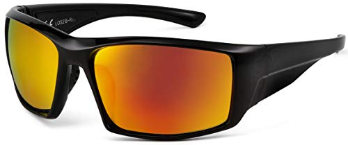 La Optica B.L.M. UV400 CAT 3 Unisex Damen Herren Sonnenbrille Sportbrille Fahrradbrille Mountainbike - Schwarz (Gläser: Rot Verspiegelt)