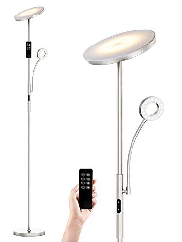 Lampara de pie LED ANTEN LATONA | 30W+5W, con Luz de Lectura | Regulable 4 Temperaturas de Color, con Mando a Distancia | Níquel Moderno | para Salón, Dormitorio, Oficina, Hotel | Diseño 2021