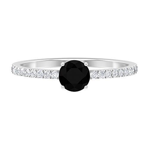 April Piedra de nacimiento - Solitario redondo 5 mm anillo de diamante negro con moissanita, anillo de compromiso de piedra lateral, 18K Oro blanco, Size:EU 68