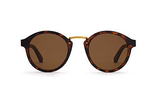 TAKE A SHOT – Runde Holz-Sonnenbrille unisex, Holz-Bügel, Metallsteg und Kunststoff-Rahmen, UV400 Schutz, rückentspiegelte Gläser, Feronia 2.0