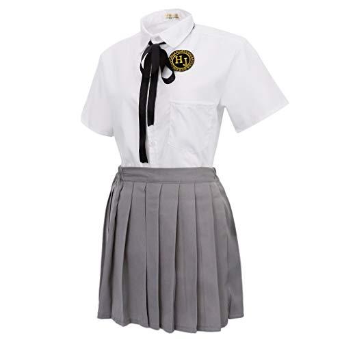 chiwanji Japanische-Stil Schulmädchen Matrosenanzug Schuluniform Cosplay Kostüm, Gefalteter Röcke und Kurzarm Hemd - Größe S