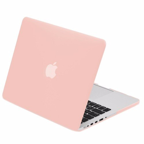 TOP CASE - Classic Series Rubberized Hard Case Compatible MacBook Pro 13' (13' Diagonally) with Retina Display (Old Gen. 2012-2015) Model: A1425 and A1502 - Rose Quartz