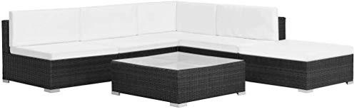 lyrlody- Set Muebles de Jardín y Terraza, Conjunto Muebles Sofá 1 x Sofá de Esquina + 3 x Sofás de Centro + 1 x Mesa de Centro + 1 x Otomana + 5 x Cojines de Respaldo + 5 x Cojines de Asiento