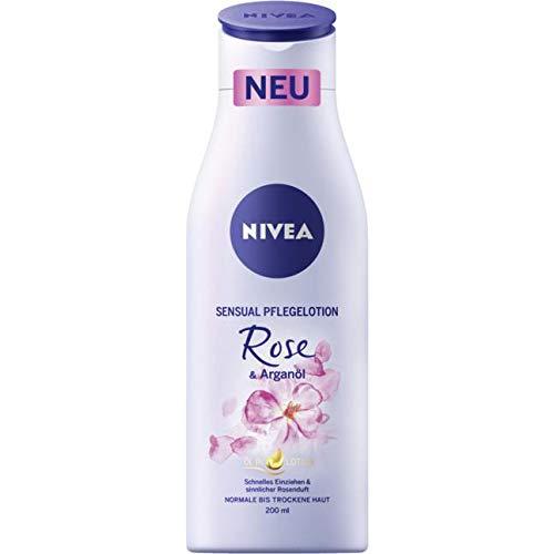 Nivea Körperpflege Body Lotion und Milk Sensual Pflegelotion Rose & Arganöl 200 ml