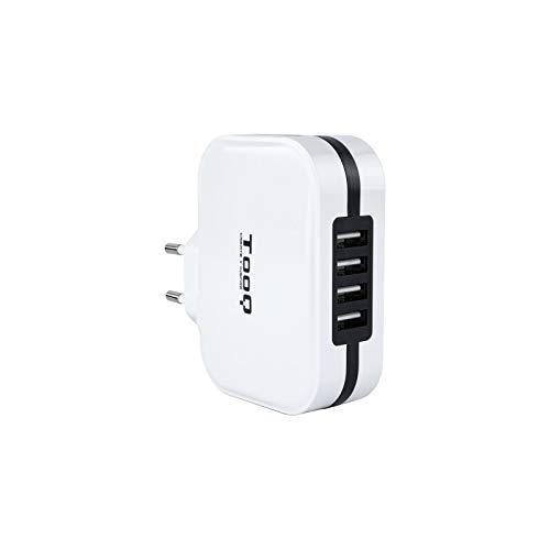 TooQ TQWC-1S04WT - Cargador de pared con 4 x USB (5V - 6.8 A, 34 W), con tecnologia AiPower, para iPad / iPhone / Samsung / Tablets / Smartphones, color BLANCO