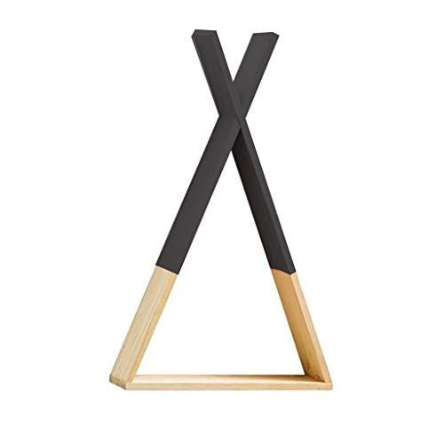 Scaffale triangolare in legno in stile nordico, da appendere alla parete, per riporre libri, per la casa, per la cameretta dei bambini, regalo fai da te Nero